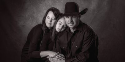 emotional black and white family portrait - Houston, Texas