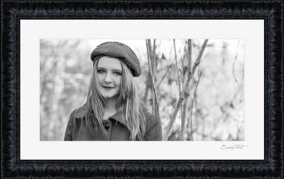 Black and white portrait made outdoors in winter in Texas