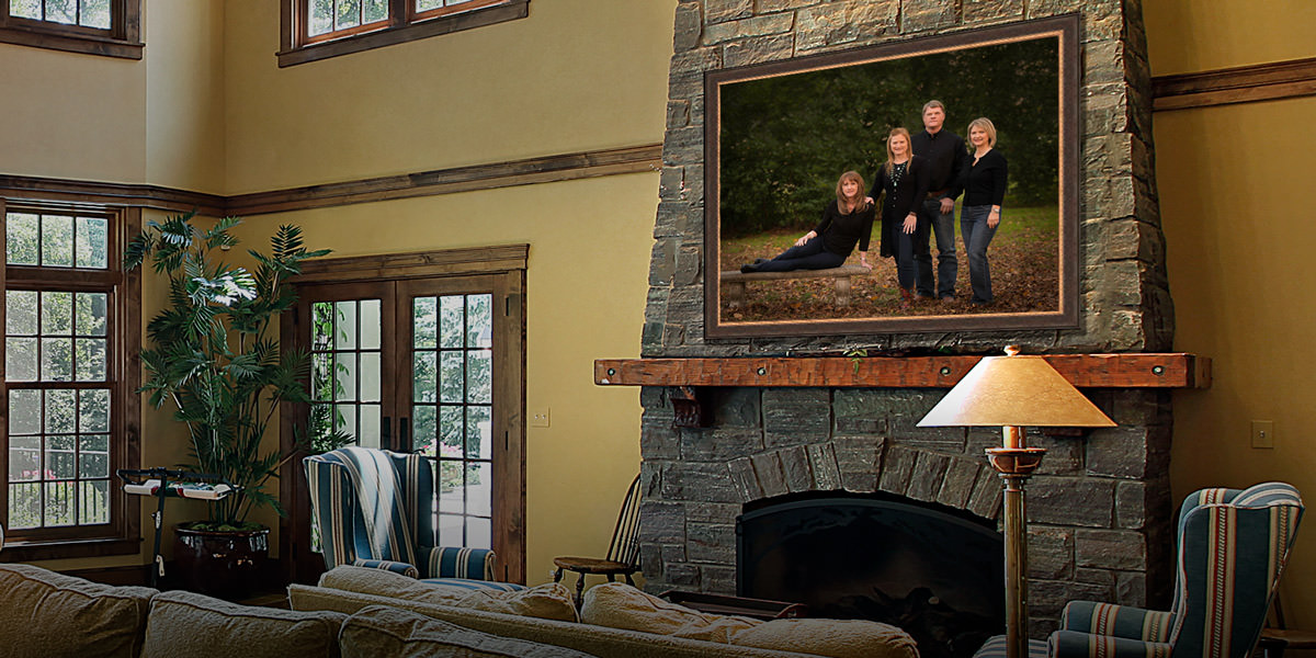 Classic family portrait hanging above a fireplace