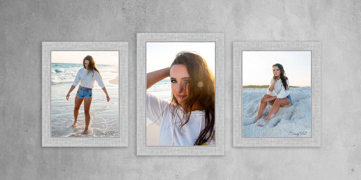 Beach senior portraits created by Flint Photography.