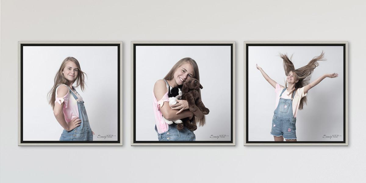 Three portraits of a tween girl