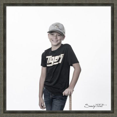 Young baseball player portrait by Sandy Flint