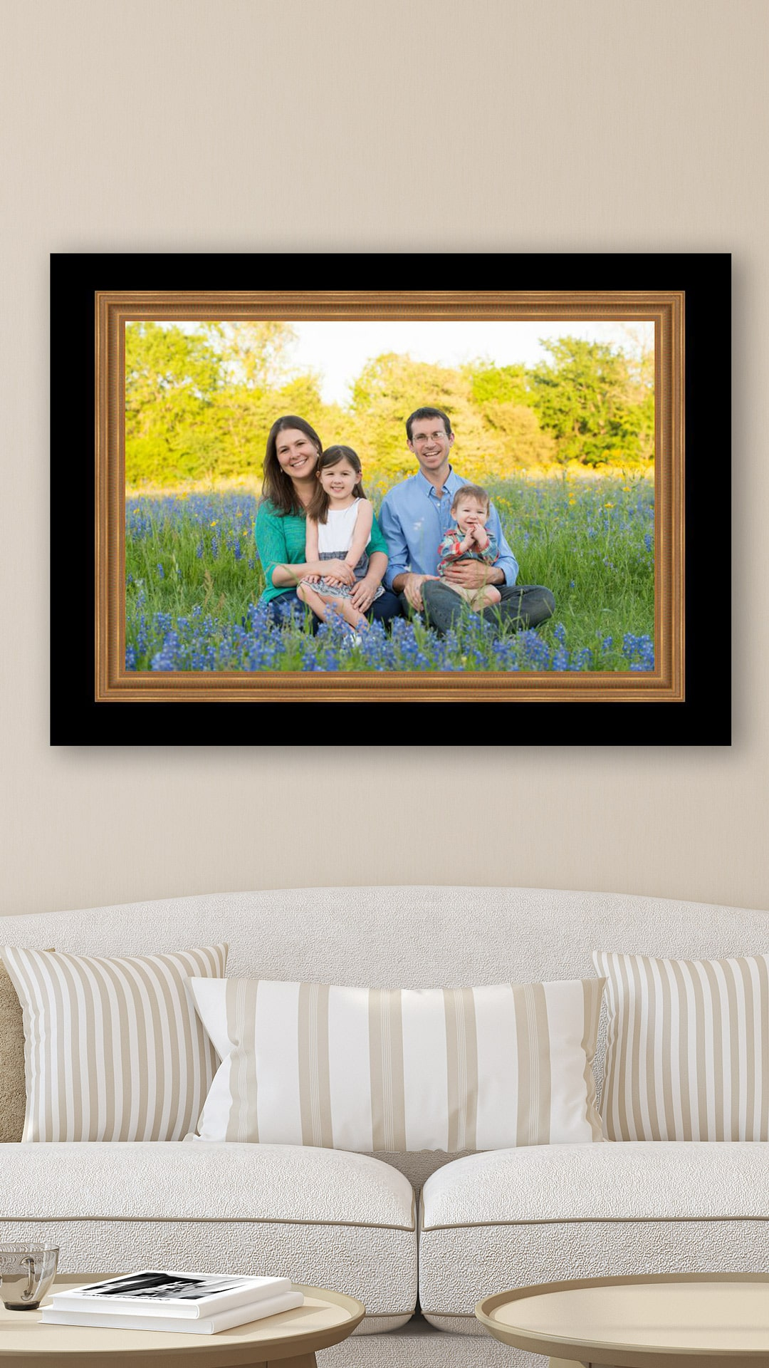 Bluebonnet family portrait made near Houston, Tx