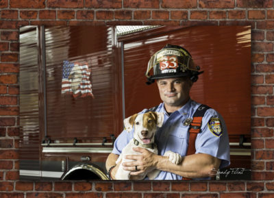 Professional portrait of a fireman and his dog. Pet portraits by Flint Photography | Houston