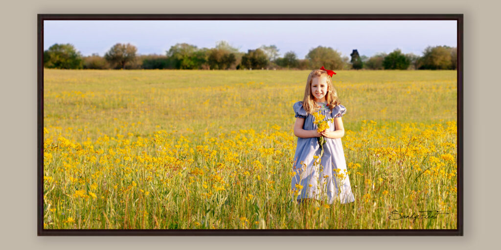 Children's portrait of little girm in a field created near Katy, TX by Flint Photography