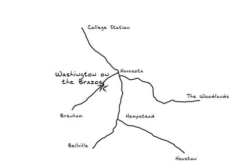 Map to Washington on the Brazos