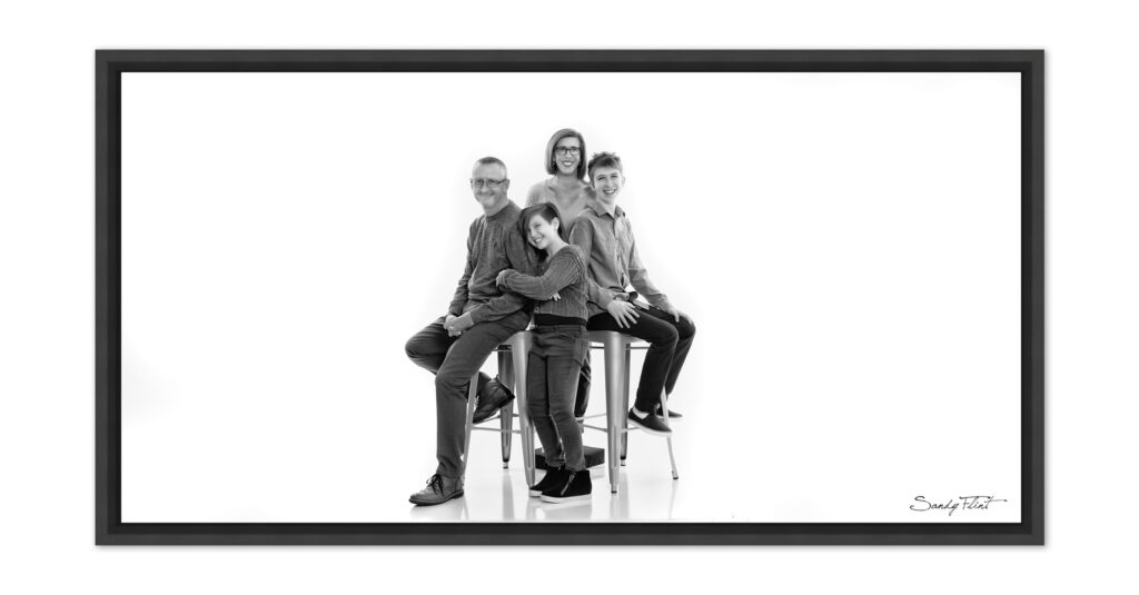 Modern black and white family portrait by Flint Photography